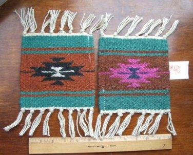 "2 Coasters Table Rugs 6x6"" Wool Fringed Southwest #40"