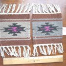 "2 Coasters Table Rugs 6x6"" Wool Fringed Southwest #41"