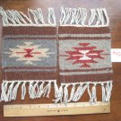 "2 Coasters Table Rugs 6x6"" Wool Fringed Southwest #42"