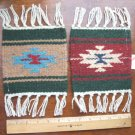 "2 Coasters Table Rugs 6x6"" Wool Fringed Southwest #45"