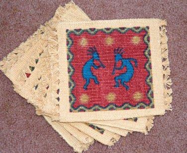 Coasters Set of 6 Dancing Kokopelli Southwest theme Thick Canvas #2