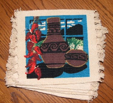 """Coasters Set of 6 SW Pottery & Strung Hot Peppers 6x6"""""""