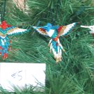 3 Hummingbird Christmas Ornaments Hand Beaded Fair Trade #51
