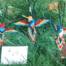 3 Hummingbird Christmas Ornaments Hand Beaded Fair Trade #65