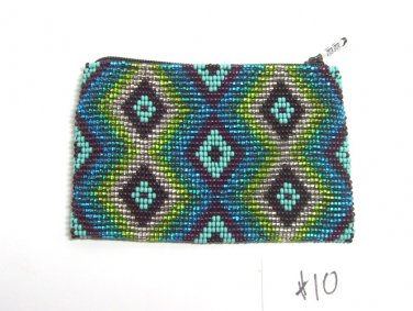 Coin Purse Beaded  Green & Blue Geometric  Lined Zips close Fair trade #10