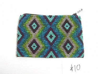 Coin Purse Beaded  Green & Blue Geometric  Lined Zips close Fair trade #10