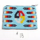 Coin Purse Beaded Medicine Wheel & feathers Lined Zips close Fair trade #18