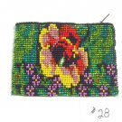 Coin Purse Beaded Floral Design Cloth Lined Zips close Fair trade #28