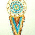 "Beaded Dreamcatcher Christmas or Car Ornament Handmade 2.5x6.5"" D8"