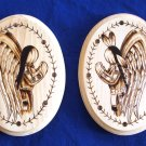 "Set of 2 Praying Angels Wall Plaques 9x7""  Native American Artwork"