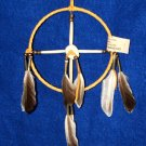 "6"" Native American Medicine Wheel w/ Elk Antler Ctr Gold Leather Navajo SP11"
