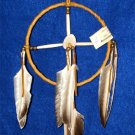 "6"" Native American Medicine Wheel w/ Elk Antler Ctr Brown Leather Navajo SP12"