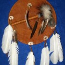 Tomahawk Leather Mandella / Shield Authentic Native American Art CS02