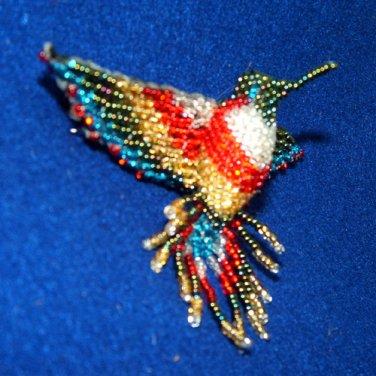 "4"" Hummingbird Barrette Beaded French Clip closure Fair trade beadwork #20"