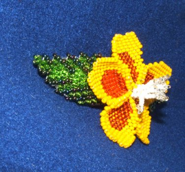 "Columbine Flower Hand Beaded Barrettes 4"" L French Clip Closure #09"