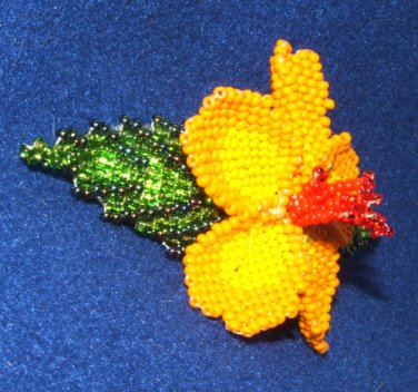 "Columbine Flower Hand Beaded Barrettes 4"" L French Clip Closure #14"
