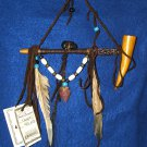 "7"" Native American Hanging Pipe w/ Wooden Bowl & Arrowhead WHP01"