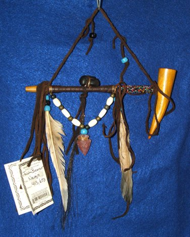 """7"""" Native American Hanging Pipe w/ Wooden Bowl & Arrowhead WHP01"""