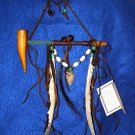 "7"" Native American Hanging Pipe w/ Wooden Bowl & Arrowhead WHP03"