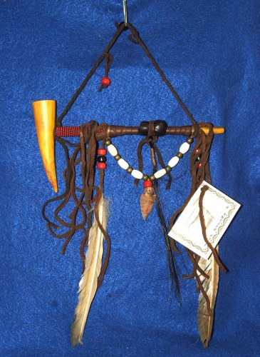 "7"" Native American Hanging Pipe w/ Wooden Bowl & Arrowhead WHP02"
