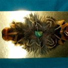 Feathered Barrette Pheasant Feathers & Real Turquoise FREE SHIPPING MFB13