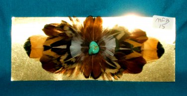 Feathered Barrette Pheasant Feathers & Real Turquoise FREE SHIPPING MFB15