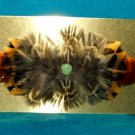 Feathered Barrette Pheasant Feathers & Real Turquoise FREE SHIPPING MFB16