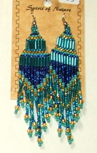 """Beaded Chandelier Earrings 4"""" Length Regalia Pow wow Native American style L83"""