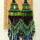 "Beaded Chandelier Earrings 4"" Length Regalia Pow wow Native American style L87"