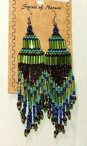 """Beaded Chandelier Earrings 4"""" Length Regalia Pow wow Native American style L87"""