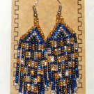 "Beaded Earrings 3"" Length Gold Silver Blue & Black Beadwork Regalia SD97"