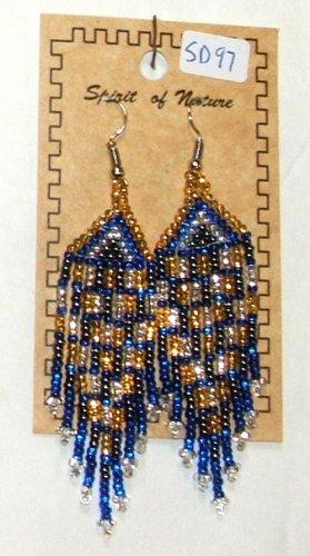 "Beaded Earrings 3"" Length Gold Silver Blue & Black Beadwork Regalia SD97"