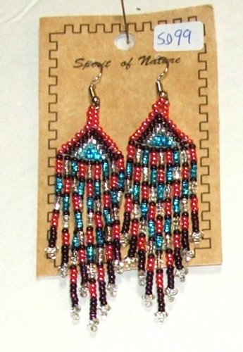 "Beaded Earrings 3"" Length Pearl Pink Silver Blue Purple Beadwork Regalia SD99"