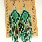 "Beaded Earrings 3"" Length in Greens Beadwork Regalia SD100"