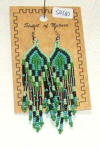 "Beaded Earrings 3"" Length in Greens Beadwork Regalia SD100"