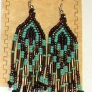"Beaded Earrings 3"" Length Aqua Brown & Purple Beadwork Regalia SD101"