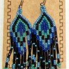 "Beaded Earrings 3"" Length Periwinkle Blue Black Royal blue Aqua Green Beadwork Regalia SD102"