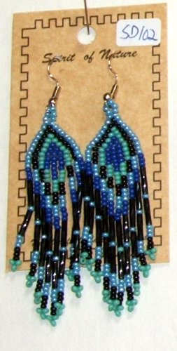 "Beaded Earrings 3"" Length Periwinkle Blue Black Royal blue Aqua Green Beadwork Regalia SD102"