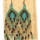"Beaded Earrings 3"" Length Aqua Gold & Navy Blue Beadwork Regalia SD104"