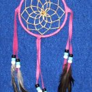 "Dreamcatcher Native American Navajo Indian  4"" dia hoop Hot pink #307"