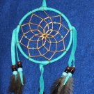 "Dreamcatcher Native American Navajo Indian  4"" dia hoop Turquoise blue #300"
