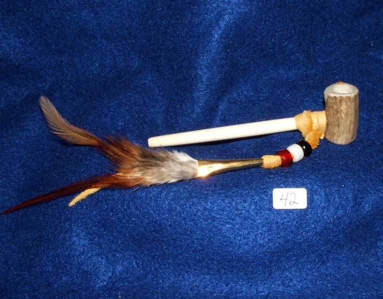 "4.5"" Antler Bowl Pipe w/ Bone Hairpipe Pipe Stem Native American made #42"