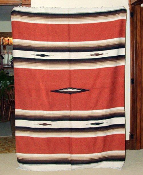 Mexican Blanket Throw Southwestern 5'x7' Rusty Brown