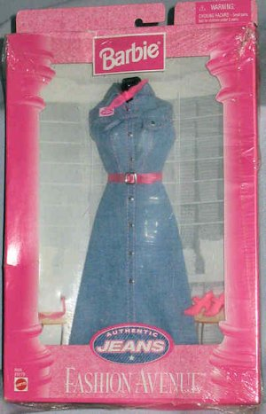 Barbie Fashion Avenue Denim Jean Dress Authentic Jeans 1997 NIB