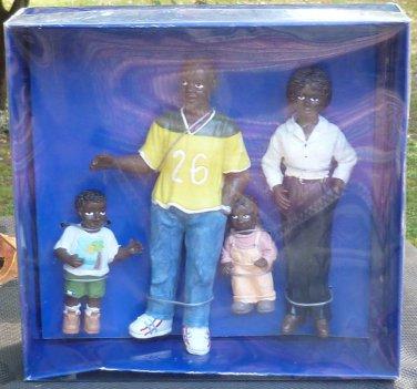 Resin Dollhouse Miniature Modern Black Family of Four 1:12 Scale