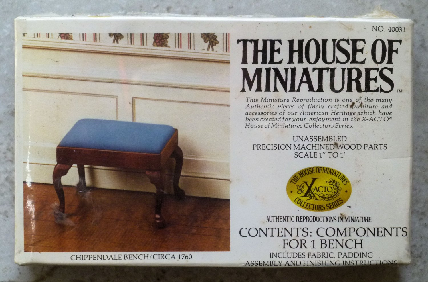 """Xacto House of Miniatures Kit Chippendale blue Bench 40031 1980 1"""" Scale"""