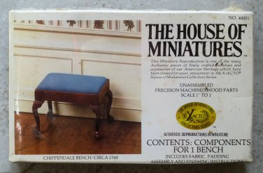 "Xacto House of Miniatures Kit Chippendale blue Bench 40031 1980 1"" Scale"