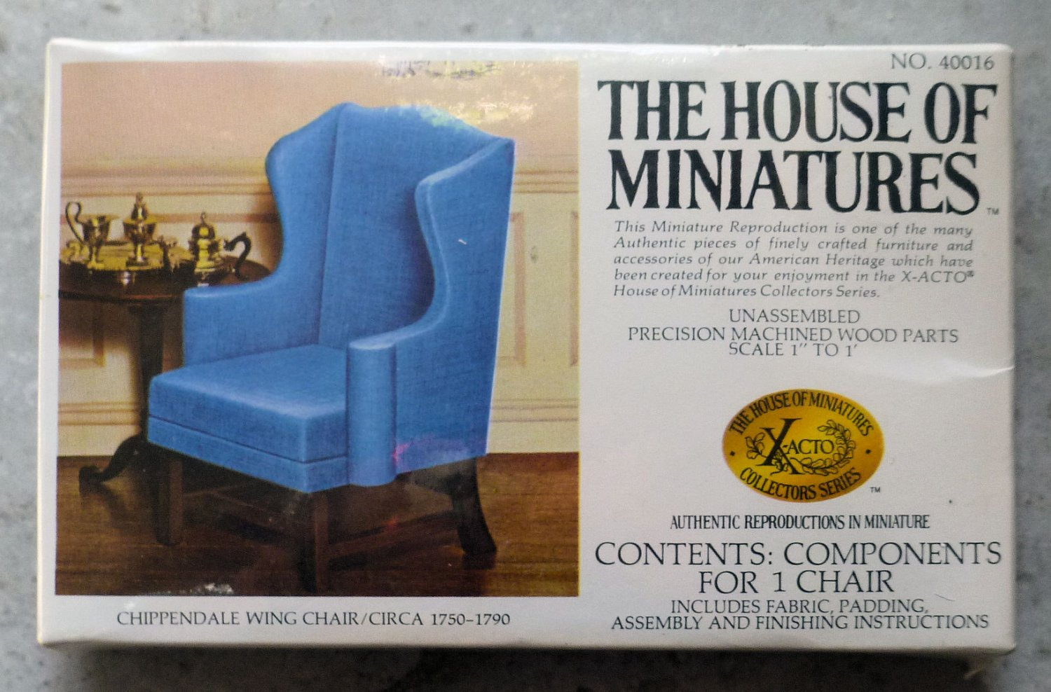 """Xacto House of Miniatures Kit Chippendale Blue Chair 40016 1"""" scale NIP"""