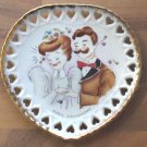 Unusual MIJ Heart Shaped Hand Painted Anniversary Plate