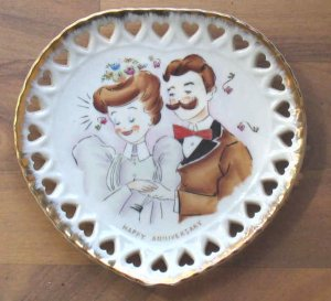 Unusual MIJ Heart Shaped Hand Painted Anniversary Plate